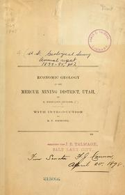 Cover of: Economic geology of the Mercur Mining District, Utah