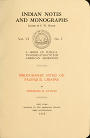 Cover of: Bibliographic notes on Palenque, Chiapas