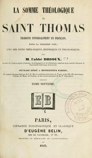 Cover of: La somme théologique de Saint Thomas