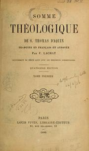 Cover of: Somme Theologique de S. Thomas D'Aquin