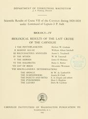 Cover of: Scientific results of cruise VII of the Carnegie during 1928-1929 under command of Captain J. P. Ault