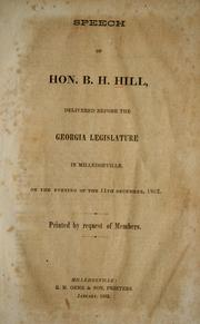 Cover of: Speech of Hon. B. H. Hill