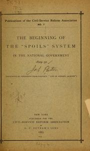 "Cover of: The beginning of the ""spoils"" system in the national government, 1829-30..."