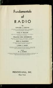 Cover of: Fundamentals of radio | Edward C. Jordan