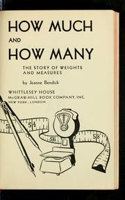 How much and how many by Jeanne Bendick