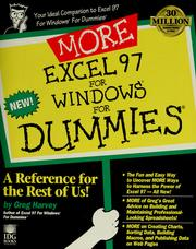 Cover of: More Excel 97 for Windows for dummies