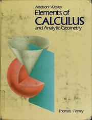 Cover of: Elements of calculus and analytic geometry
