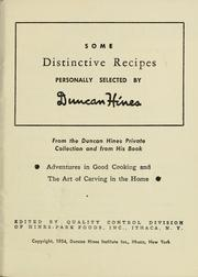 Cover of: Some distinctive recipes | Hines, Duncan