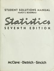 Cover of: Student solutions manual, Statistics, seventh edition | Nancy S. Boudreau
