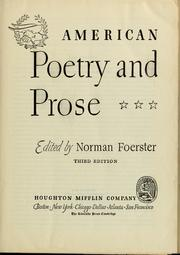 Cover of: American poetry and prose | Norman Foerster