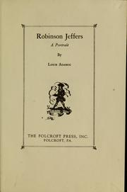 Cover of: Robinson Jeffers