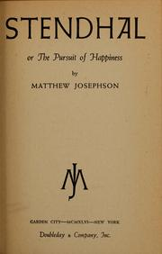 Cover of: Stendhal, or, The pursuit of happiness