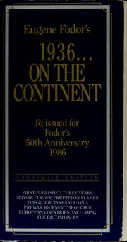 Cover of: 1936-- on the continent