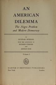 Cover of: An American dilemma