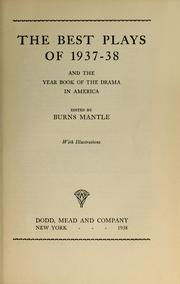 Cover of: The Best plays of 1937-38 by Burns Mantle