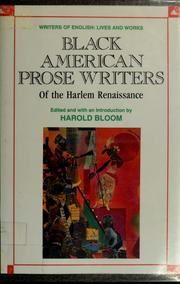 Cover of: Black American prose writers of the Harlem renaissance