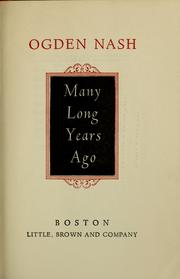 Cover of: Many long years ago