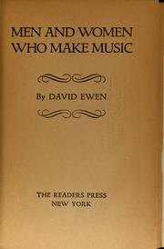 Cover of: Men and women who make music