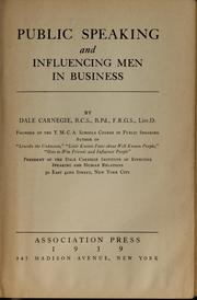 Cover of: Public speaking and influencing men in business