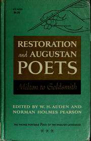 Cover of: Restoration and Augustan poets
