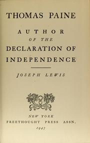 Cover of: Thomas Paine, author of the Declaration of independence