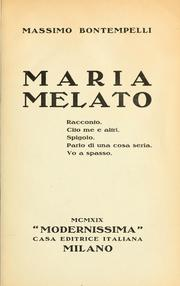 Cover of: Maria Melato