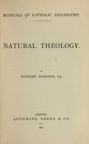Cover of: Natural theology | Bernard Boedder