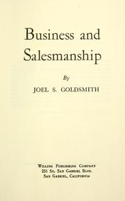 Cover of: Business and salesmanship | Joel S. Goldsmith