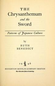 Cover of: The chrysanthemum and the sword | Ruth Benedict