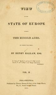 Cover of: View of the state of Europe during the middle ages ... by Henry Hallam