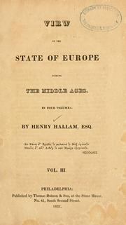 View of the state of Europe during the middle ages ... by Henry Hallam