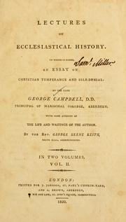 Cover of: Lectures on ecclesiastical history | George Campbell