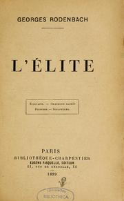 Cover of: L'élite