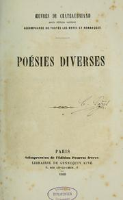 Cover of: Poésies diverses