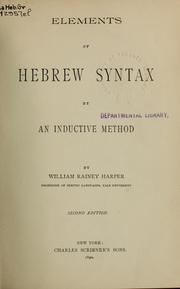 Cover of: Elements of Hebrew syntax by an inductive method