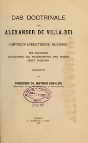 Cover of: Das Doctrinale des Alexander de Villa-Dei