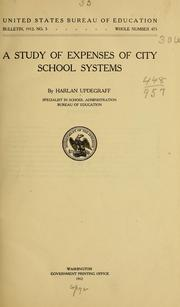 Cover of: A study of expenses of city school systems