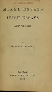 Cover of: Mixed essays | Matthew Arnold