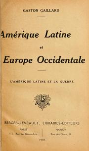 Cover of: Amérique latine et Europe occidentale