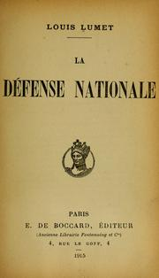 Cover of: La défense nationale