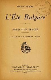 Cover of: L'eté bulgare