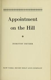 Cover of: Appointment on the Hill | Dorothy Detzer