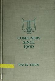 Cover of: Composers since 1900
