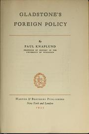 Cover of: Gladstone's foreign policy