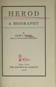 Cover of: Herod. A biography | Jacob Samuel MINKIN