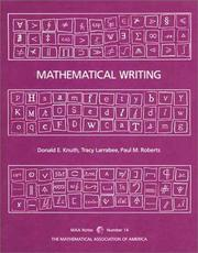 Cover of: Mathematical Writing (Mathematical Association of America Notes)