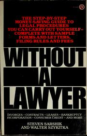 Cover of: Without a lawyer | Steven Sarshik