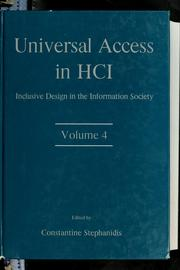 Cover of: Universal access in HCI