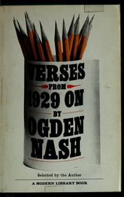 Cover of: Verses from 1929 on