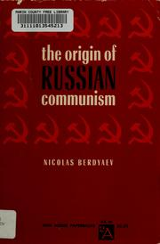 Cover of: The origin of Russian communism